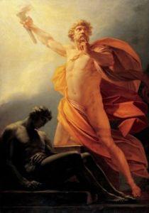 Óleo en lienzo de Heinrich Friedrich Füger:-1817 Prometeo lleva el fuego a la humanidad