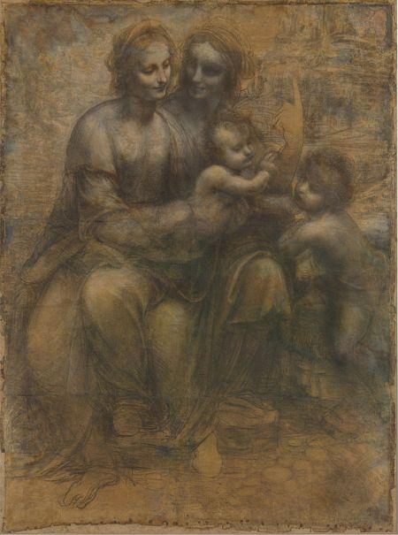 Cartón de Burlington House, de Leonardo da Vinci. Representa la Virgen con el Niño, San Juan  y Santa Ana
