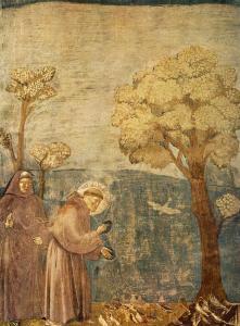 Más detalles Francisco de Asís dando un sermón a las aves. Fresco de Giotto en la basílica dedicada al santo, en Asís.