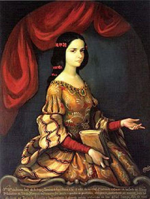 Retrato de Juana de Asbaje en 1666, posiblemente anacrónico, figurando a los quince años de edad. En esa fecha fue cuando entró a la corte virreinal tras ser sometida a un examen ante 40 doctores en teología, filosofía y humanidades.
