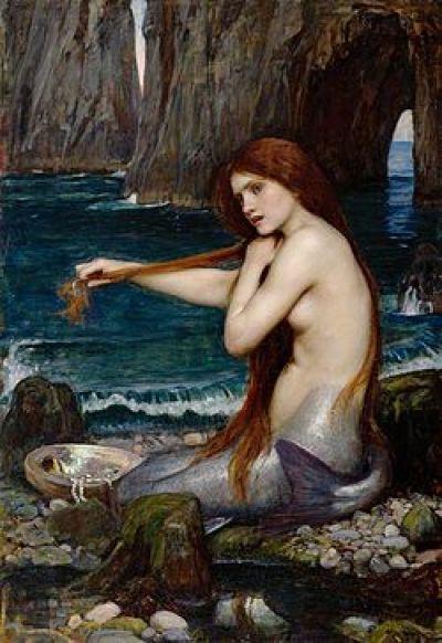 A las sirenas se las describe con frecuencia asomándose a la superficie del agua, o sentadas en una roca, peinándose su largo y rubio cabello con una mano y un espejo en la otra. John William Waterhouse A Mermaid