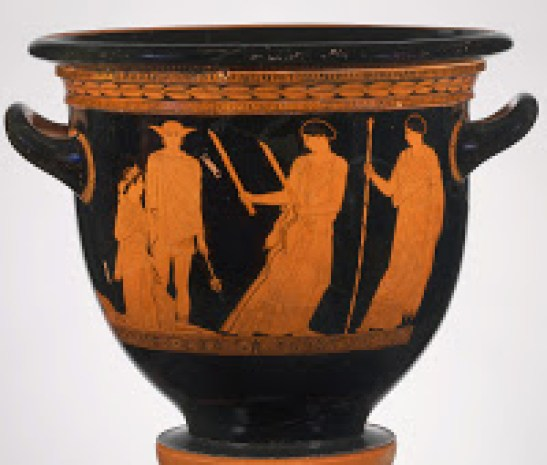 Demeter Hekate con antorchas Hermes guia a Kore en regreso del hades-440 aC-Metropolitan