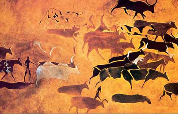 Pinturas-rupestres-en-África-en-las-que-se-representan-toros