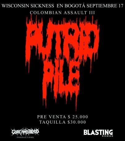 PUTRID PILE en Colombia, Sep 17 en el COLOMBIAN ASSAULT III  de Bogota