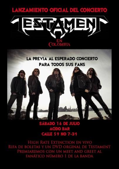 Lanzamiento oficial del concierto Testament en Colombia