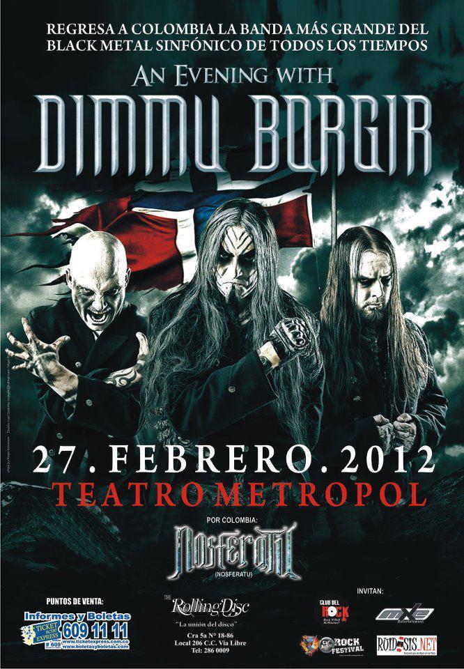 Boletas concierto DIMMU BORGIR en Colombia 2012, Feb 27 en el Teatro Metropol de Bogota
