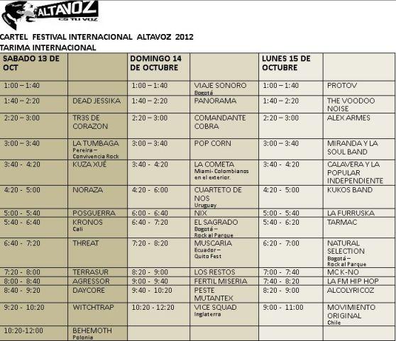 Programacion bandas Altavoz 2012