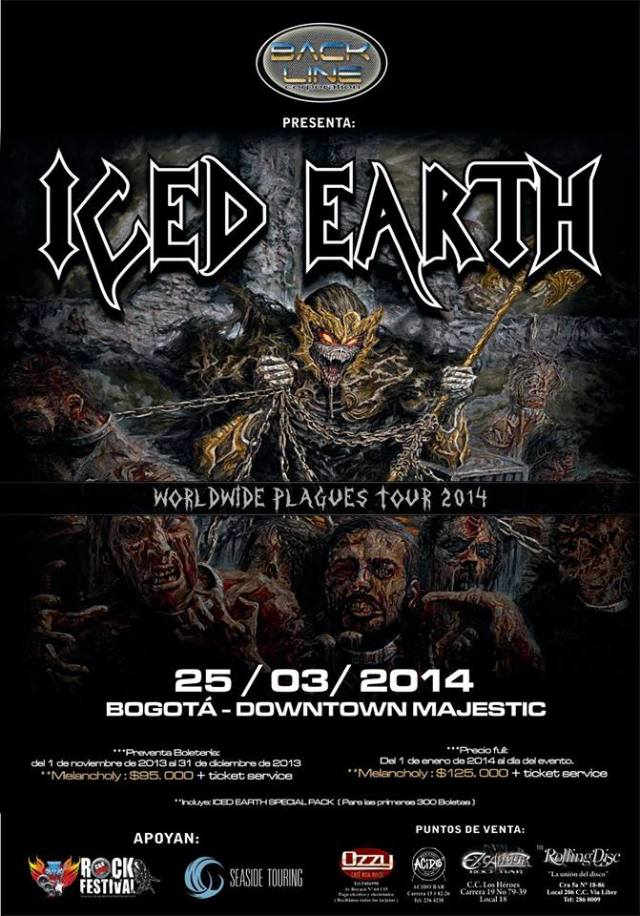 ICED EARTH colombia 2014
