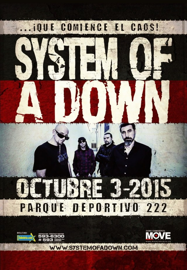 system of a down en Colombia 2015