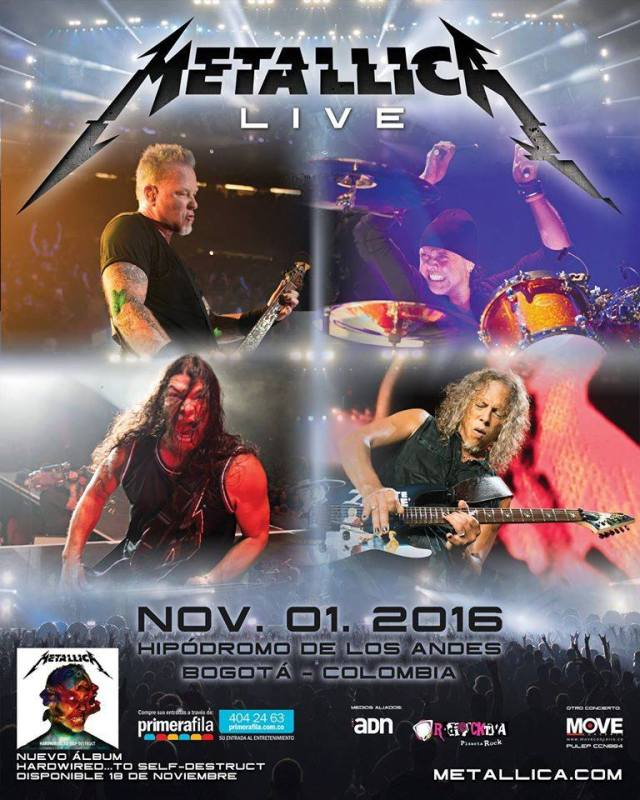 metallica colombia 2016