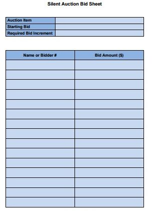 Silent Auction Bid Sheet Templates Free Download