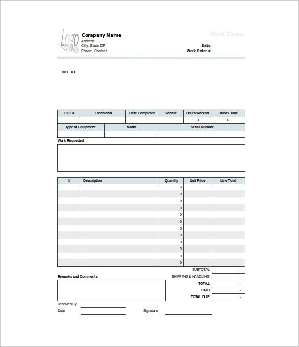 40 work order template free download word excel pdf for Printable work orders