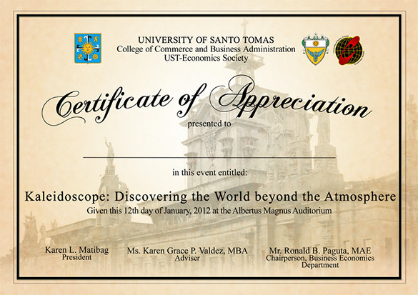 Certificate Of Appreciation Wording  Certificate Of Appreciation Words