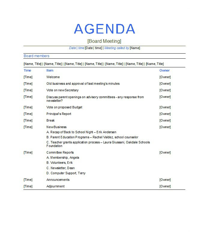 5 Meeting Agenda Template Free Download – Agenda Templates Free