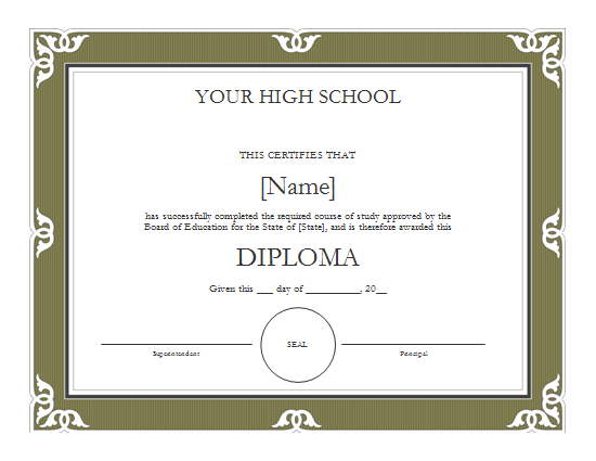 high school diploma templates