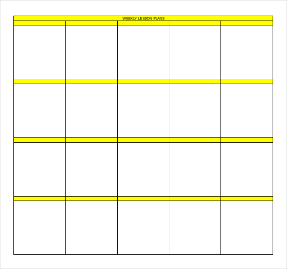 weekly lesson plan templates free