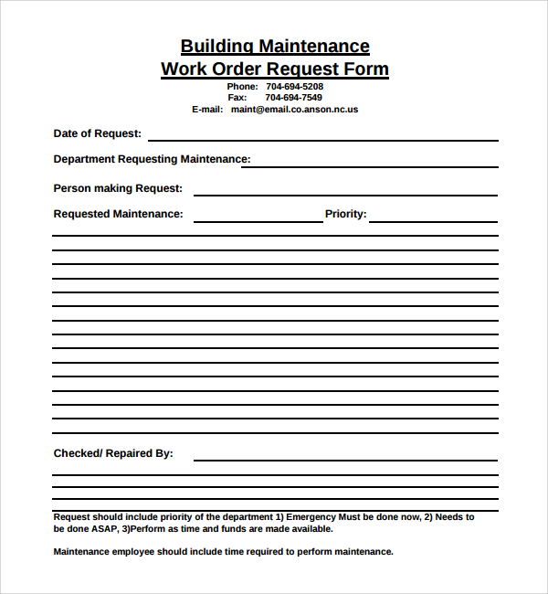 Maintenance Work Order Template