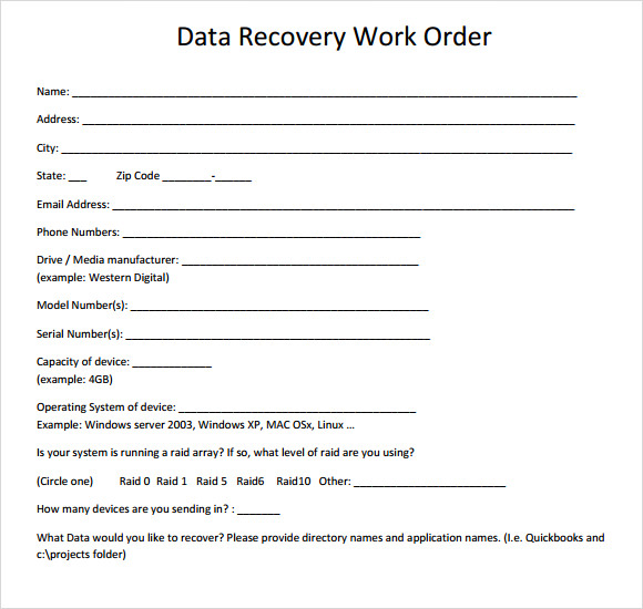 work order example