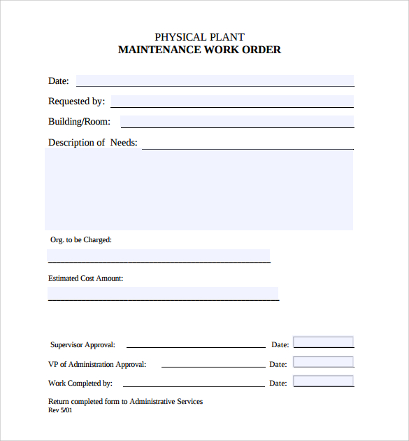 5+ Maintenance Work Order Template Free Download!!