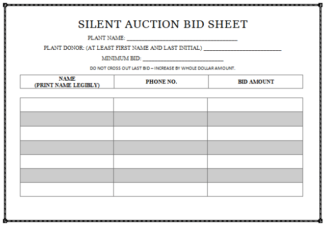 silent auction program template - 30 silent auction bid sheet templates word excel pdf