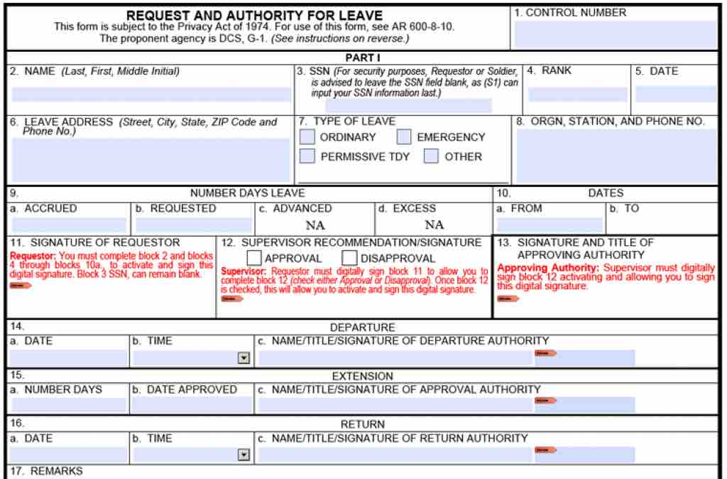 Download Da Form   Request An Authority For Leave Form