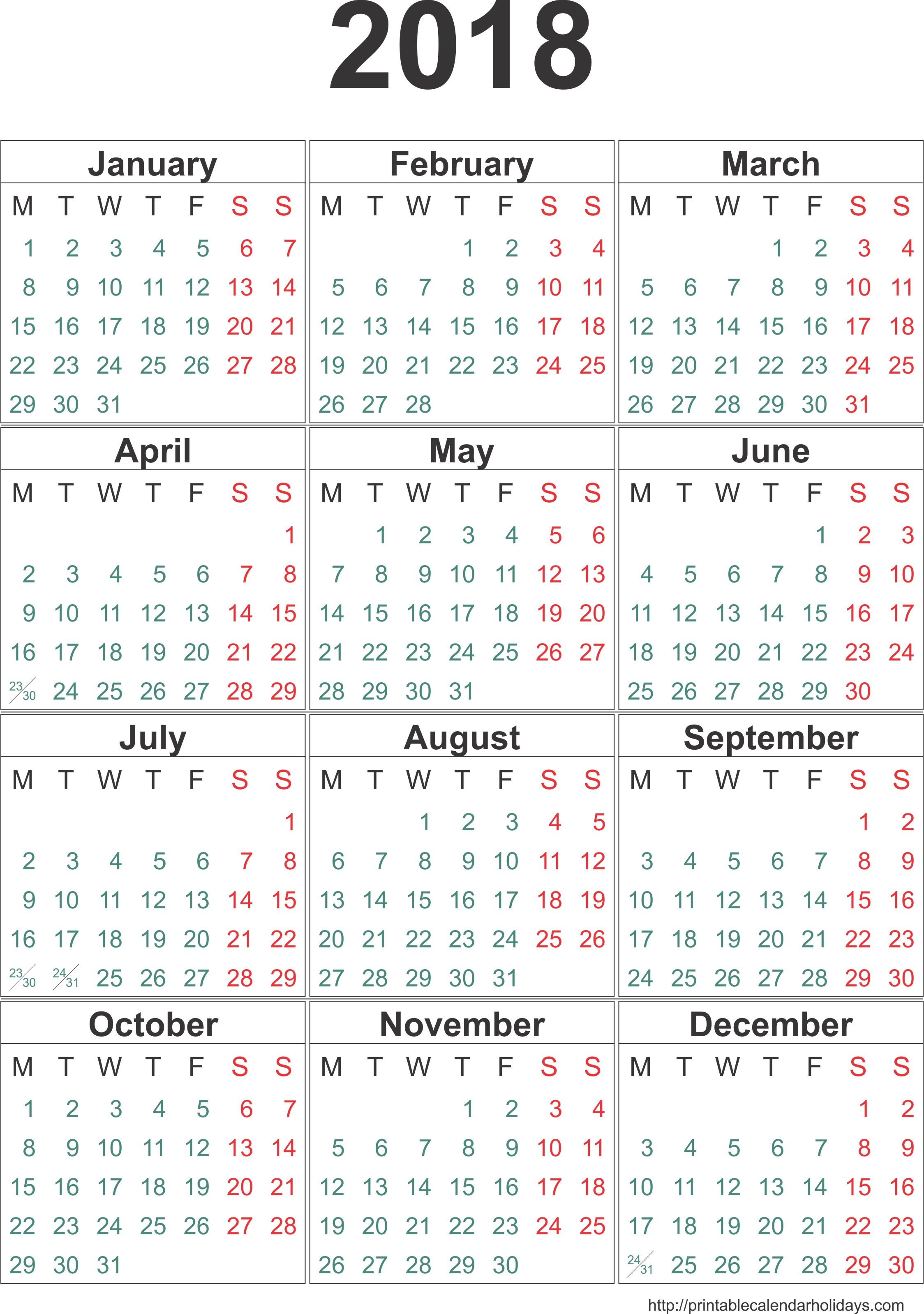 free 2018 yearly calendar
