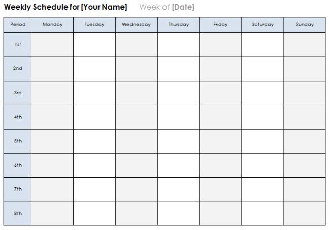 Weekly Calendar Template Free Download