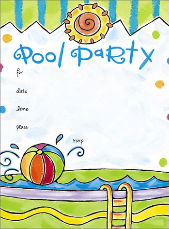 free pool party invitation template