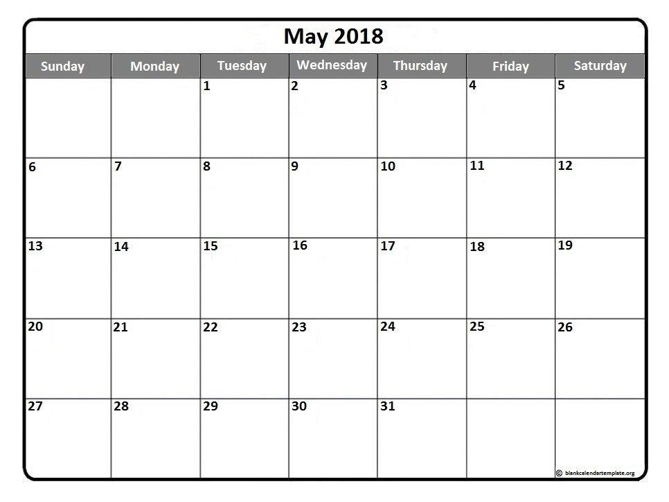 printable calendars may 2018