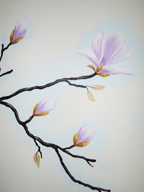 muurschildering met bloemen