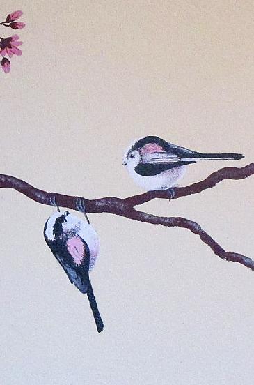 muurschildering met vogels