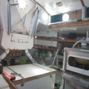 The cabin door and galley