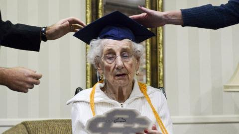 97-year old woman receives high school diploma 80yrs after she was forced to drop out of school