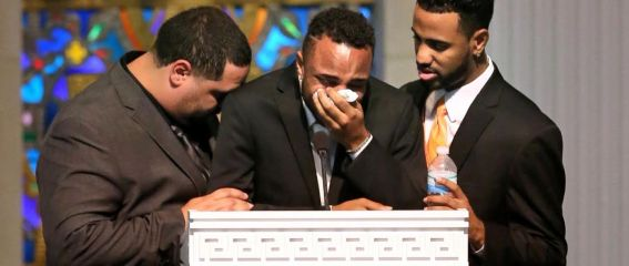 Son collapses in tears at the funeral of his mom who shielded him from bullets during Orlando massacre - elsieisy blog