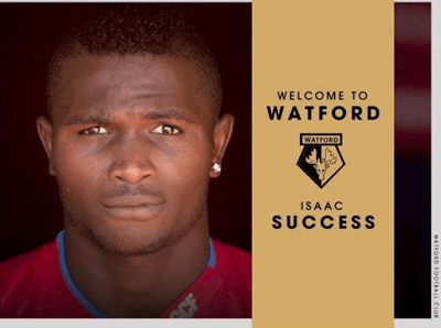 Nigerian Player Isaac Success Becomes Watford's Most Expensive Signing Ever at £12.5million