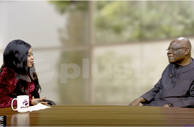 Elsie Godwin and Pa Shyngle Wigwe on Plus TV Africa One on one set - elsieisy blog