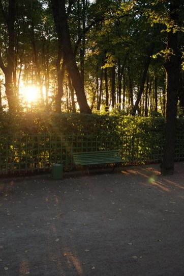 Zonsondergang in Summer gardens Sint Petersburg