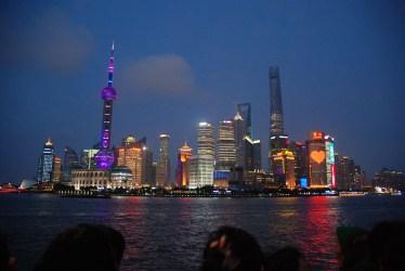 De Bund Shanghai China in de avond