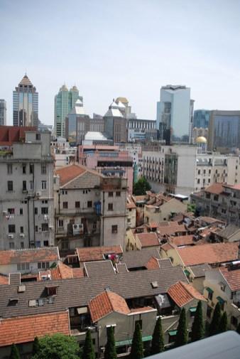 Uitzicht vanuit het hostel Shanghai China