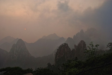Huangshan Gele bergen zonsopkomst