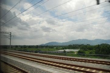 Trein van Guilin via Shenzhen naar Hong Kong uitzicht