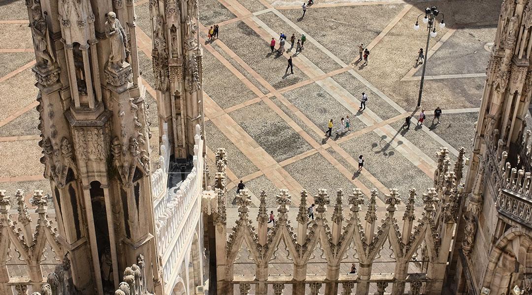 Milaan Italië bovenop de Duomo
