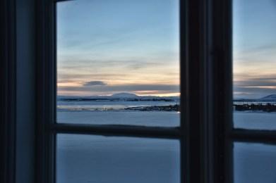 Uitzicht vanuit Héraðsskólinn hostel Laugarvatn IJsland