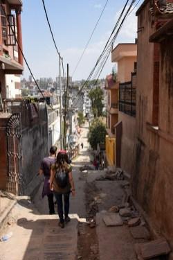 Lopen door Kathmandu Nepal