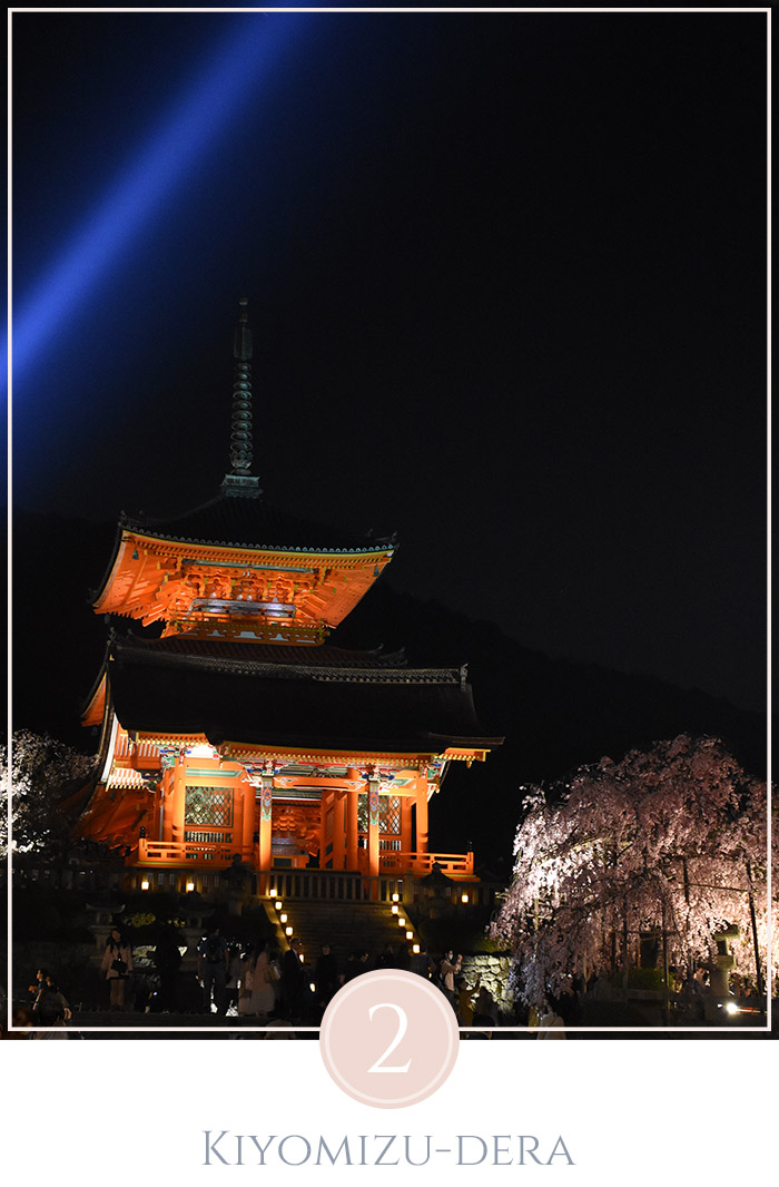 De Kiyomizu-dera tempel in de avond verlicht van onderen, rechts van de tempel staat een kersenbloesem die ook van onderen verlicht wordt