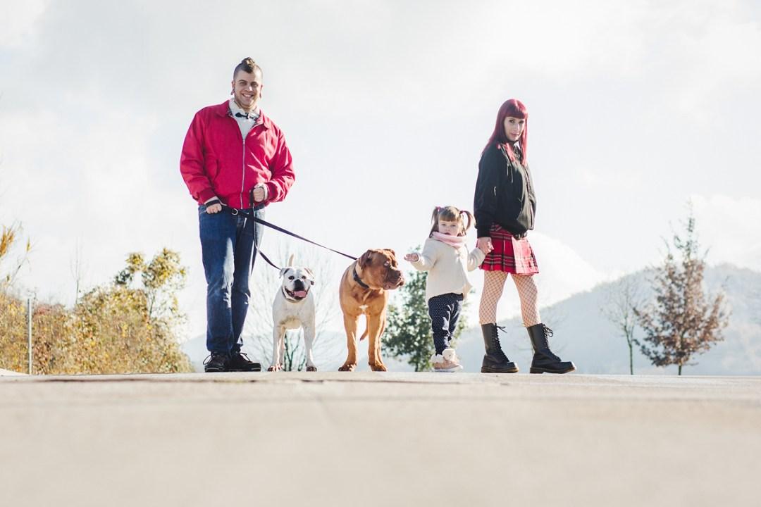dogo de burdeos y boxer con su familia