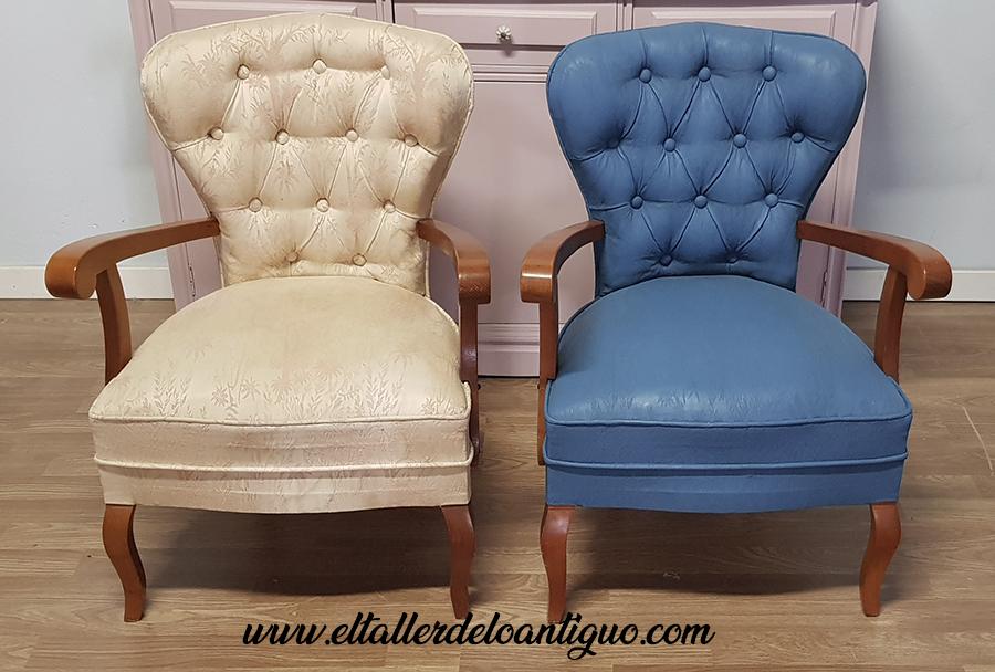 sillas de madera con tinte rosa