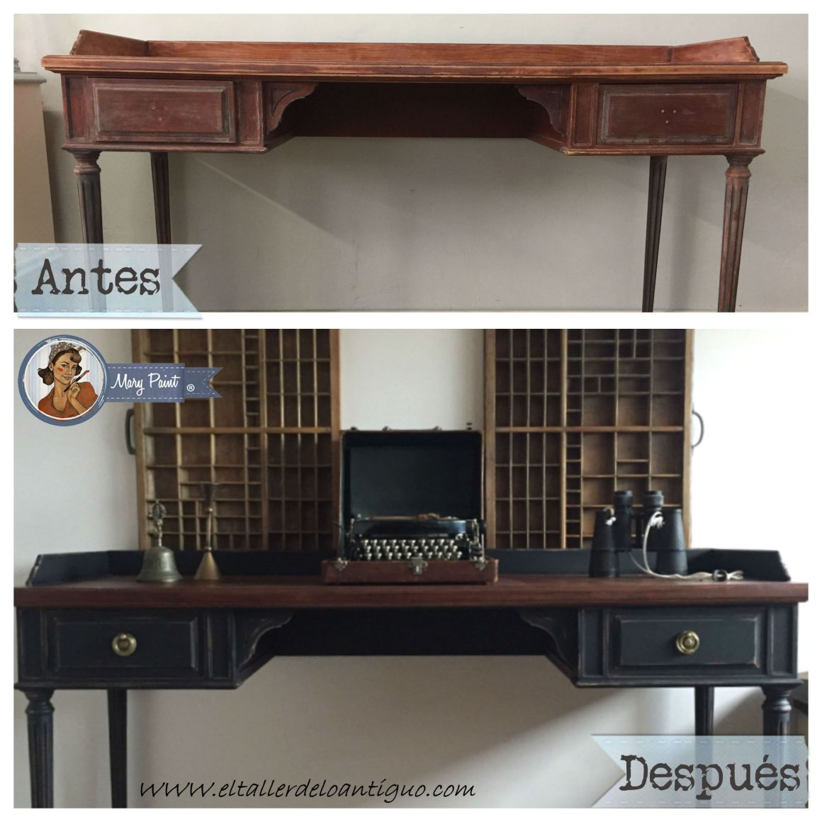 Escritorio negro steampunk con mary paint el taller de for Pintura decorativa muebles