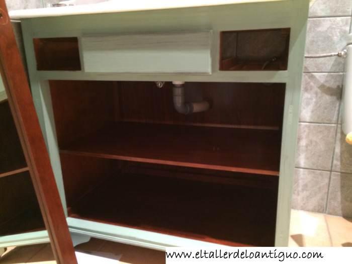 Pintar mueble de ba o el taller de lo antiguo - Pintar armario melamina ...