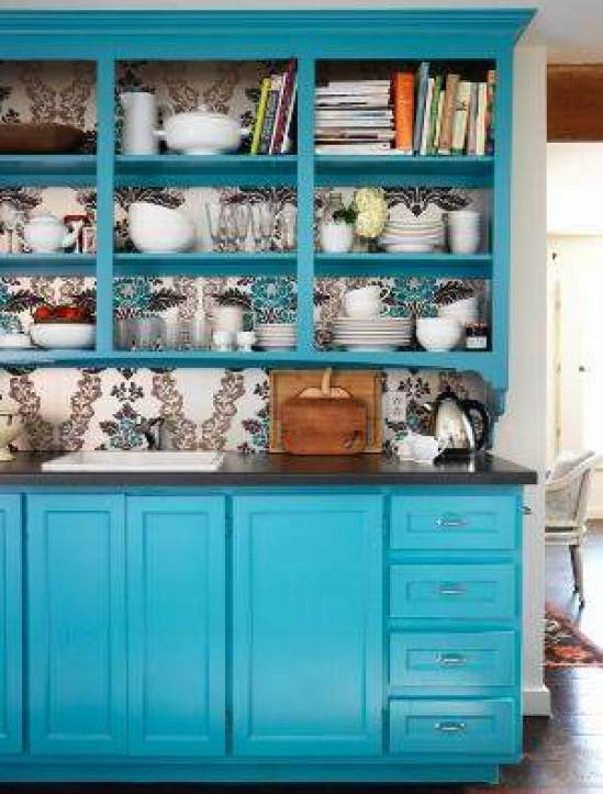 Pintar muebles de azul turquesa el taller de lo antiguo - Papel para forrar muebles de cocina ...